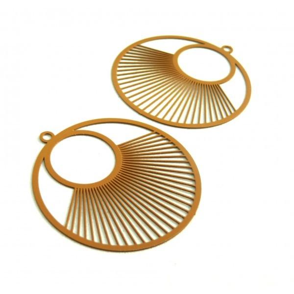 AE115957 Lot de 2 Estampes pendentif filigrane Cercle 40 mm Marron Clair - Photo n°1