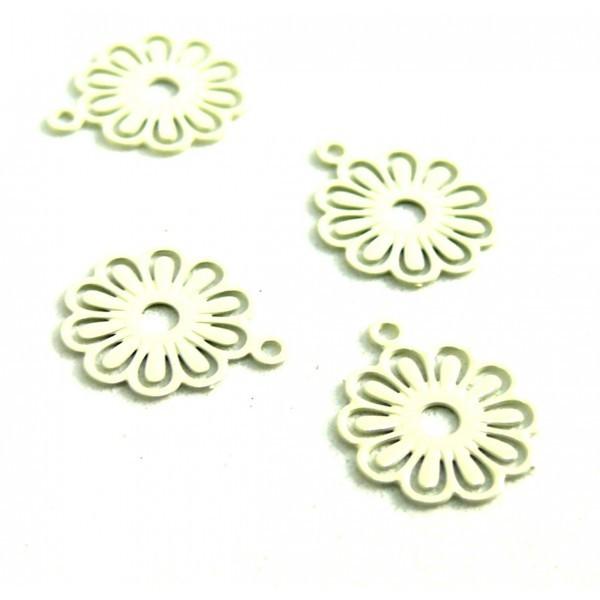 AE113414 Lot de 10 Estampes pendentif filigrane Petites Fleurs 10mm métal couleur Crème - Photo n°1
