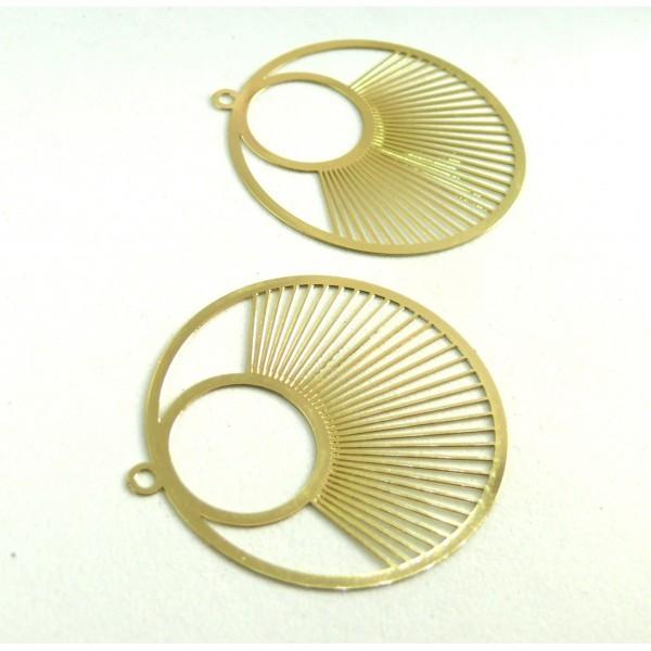 AE115957 Lot de 2 Estampes pendentif filigrane Cercle 40 mm Doré - Photo n°1