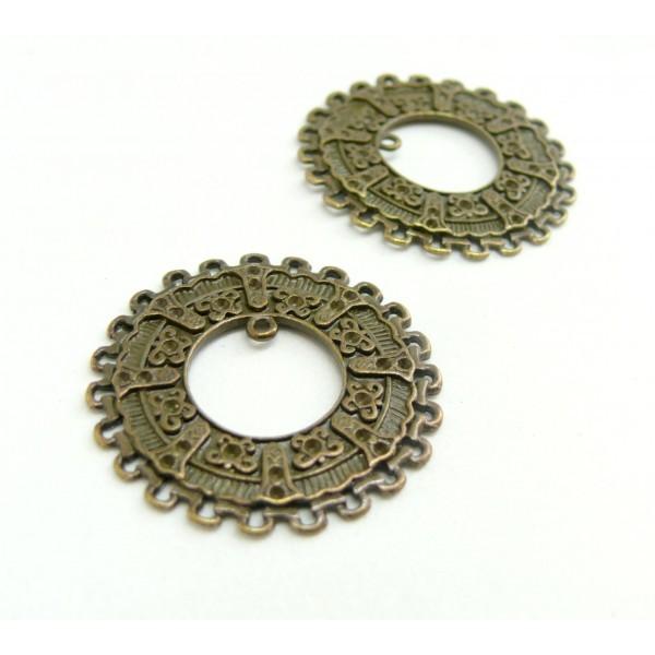 H19817 Lot de 20 Breloques multi connecteurs arabesque metal coloris Bronze - Photo n°1