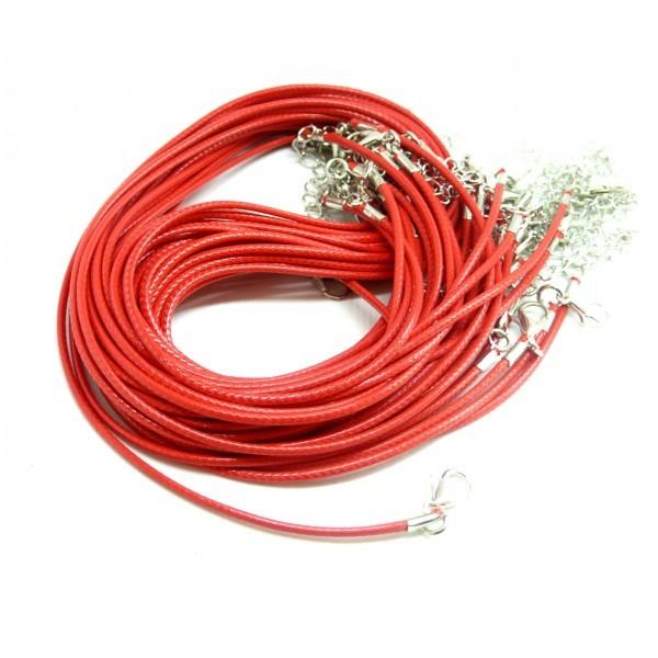 161020164759 PAX 20 colliers Ras de Cou en Corde Ciree Rouge 1.5mm avec chaine d'extension - Photo n°1