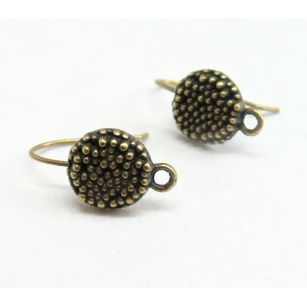 GA0618 PAX 10 Boucles d'oreille crochet PICOT métal coloris Bronze - Photo n°2