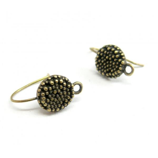 GA0618 PAX 10 Boucles d'oreille crochet PICOT métal coloris Bronze - Photo n°1
