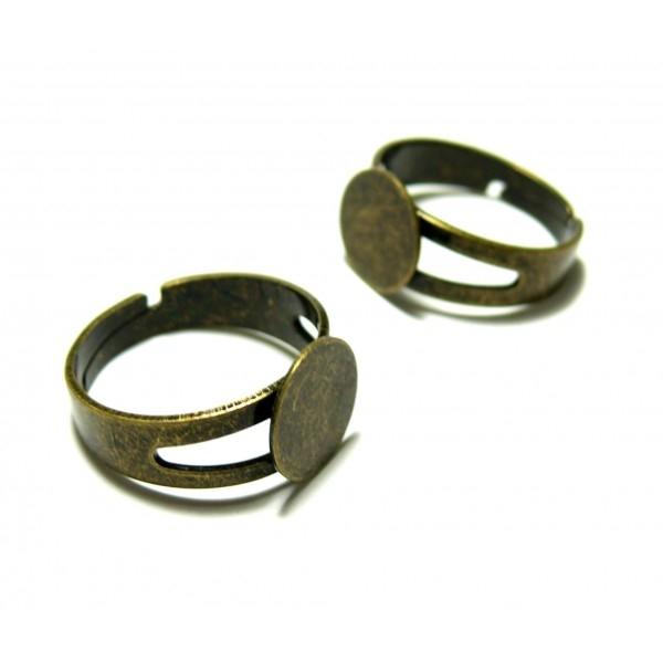 BN114708 PAX 10 supports de bague plateau lisse 10mm anneau Double Laiton Couleur Bronze - Photo n°1