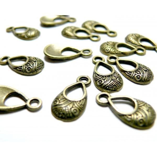 PAX de 20 breloques pendentif goutte travaillées métal couleur Bronze ref 94 - Photo n°1
