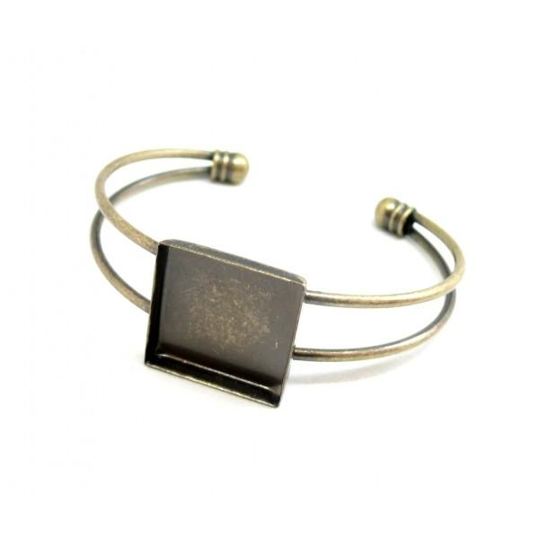 BN1126163 PAX 4 supports de bracelet CARRE 20mm Laiton coloris BRONZE pour collage digitale - Photo n°1