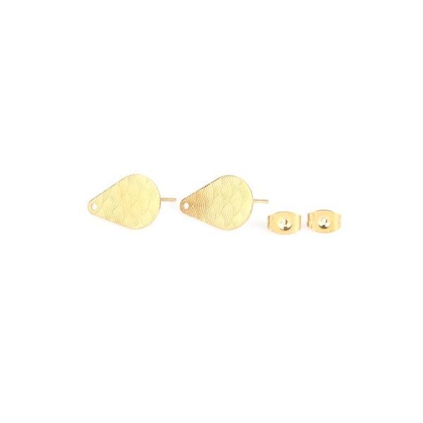 S110214885 PAX 6 supports de boucle d'oreille puce Goutte travaillées Acier Inoxydable couleur Doré - Photo n°2
