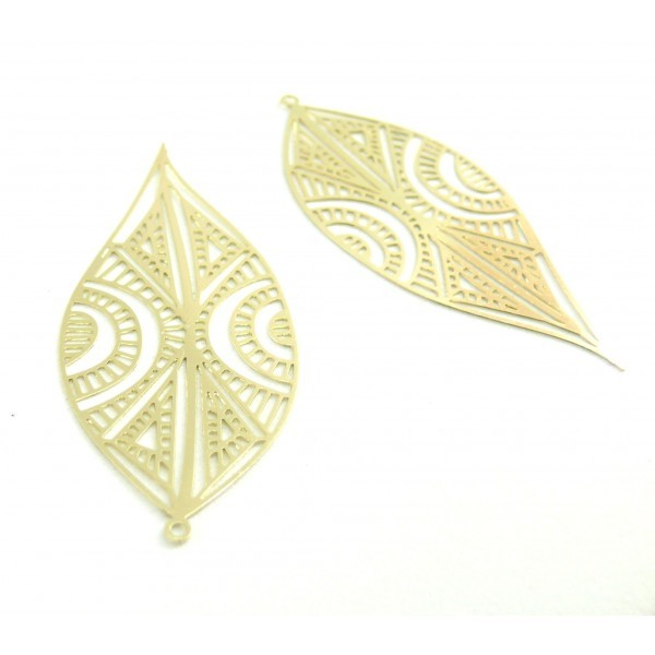 AE115394 PAX de 2 Estampes pendentif filigrane Marquise Art premier 58mm cuivre couleur Doré - Photo n°1