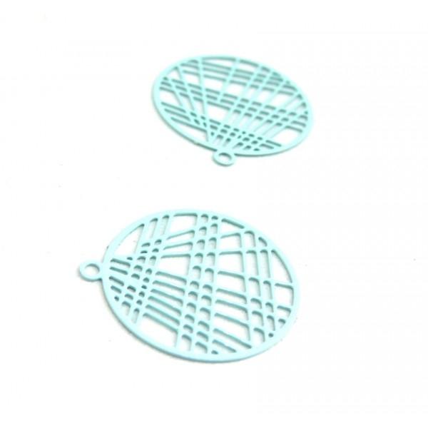 AE117406 Lot de 4 Estampes pendentif filigrane 22mm métal couleur Bleu Ciel - Photo n°1