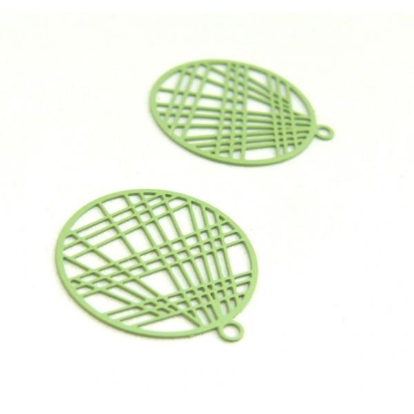AE117406 Lot de 4 Estampes pendentif filigrane 22mm métal couleur Vert Clair - Photo n°1