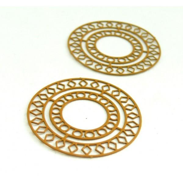 AE115421 Lot de 4 Estampes pendentif filigrane Mandala 30mm métal couleur Jaune Moutarde - Photo n°1