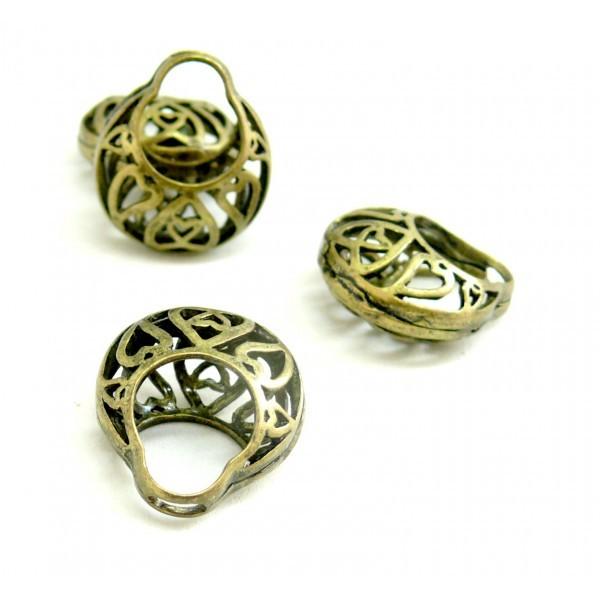 Lot de 10 pendentifs Panier ajouré métal couleur Bronze ref 36 - Photo n°1