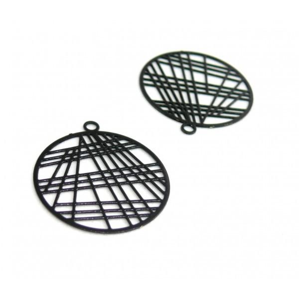 AE117406 Lot de 4 Estampes pendentif filigrane 22mm métal couleur Noir - Photo n°1