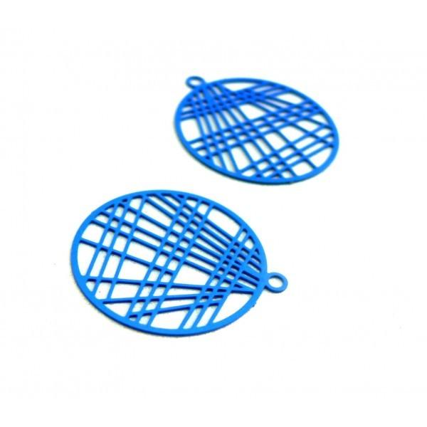 AE117406 Lot de 4 Estampes pendentif filigrane 22mm métal couleur Bleu - Photo n°1