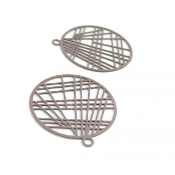 AE117406 Lot de 4 Estampes pendentif filigrane 22mm métal couleur Taupe - Photo n°1