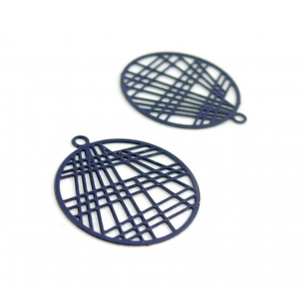 AE117406 Lot de 4 Estampes pendentif filigrane 22mm métal couleur Bleu Nuit - Photo n°1