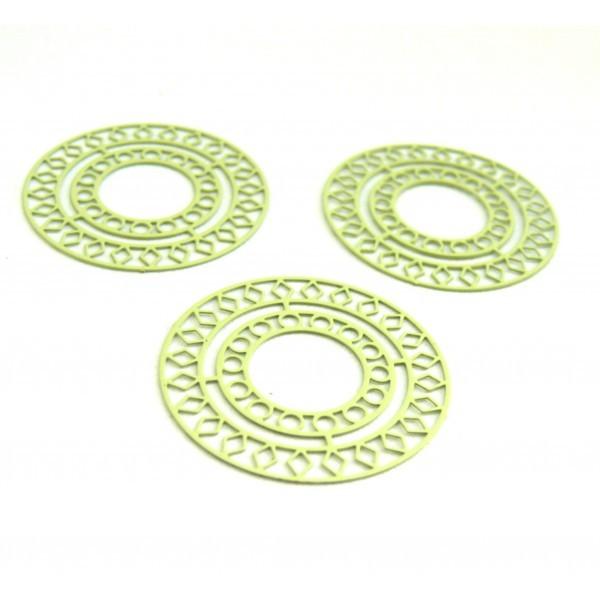 AE115421 Lot de 4 Estampes pendentif filigrane Mandala 30mm métal couleur Vert pale - Photo n°1