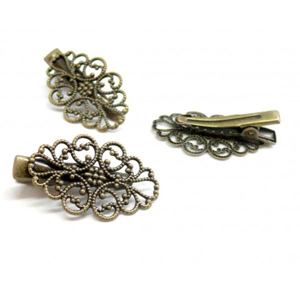 Lot de 5 supports de barrette clip crocodile style Ovale rétro métal couleur bronze 2M3227 - Photo n°1