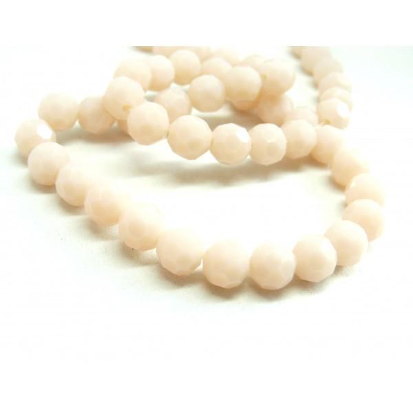 1 fil d'environ 72 perles Ronde Verre Facettée ROSE Pale 8mm Coloris 02D - Photo n°2