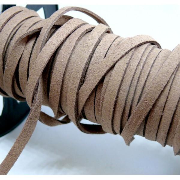 HS118 Lot de 5 mètres de cordon en suédine aspect daim Marron Clair 5mm - Photo n°1