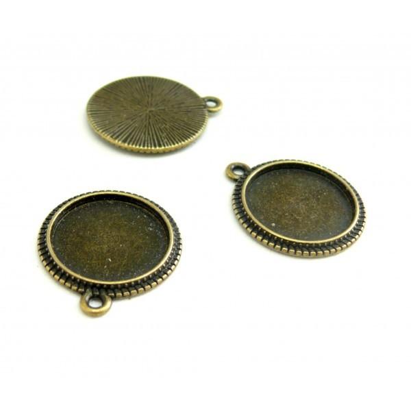 H115324 PAX de 20 pendentifs ARTY Rond pour cabochon en 16mm metal couleur Bronze - Photo n°1