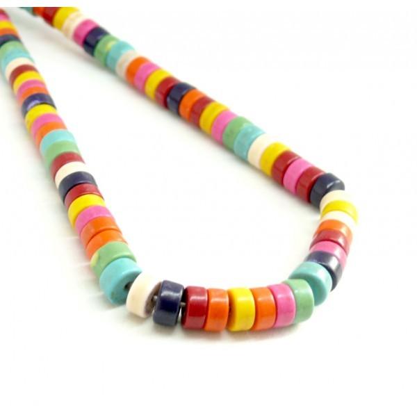 1 fil d'environ 135 Perles Rondelles Howlite 6 par 3 mm Multicolores coloris 12 - Photo n°1