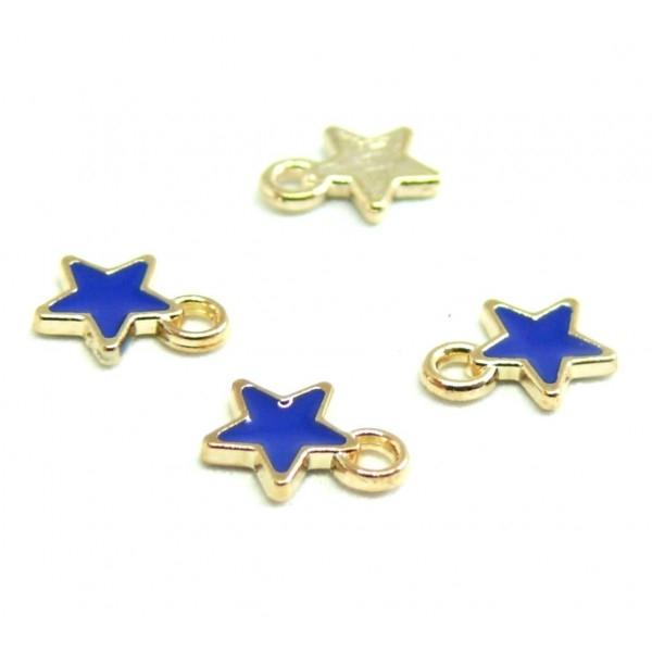 PS110228144 PAX 20 breloques pendentifs style émaillés Etoile Bleu 8mm métal doré - Photo n°1