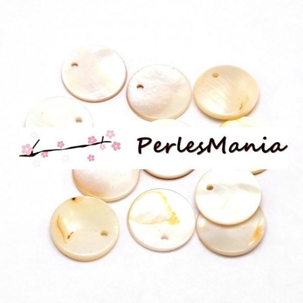 PAX de 20 PerlesPendentifs Nacres Pastilles 15mm Creme H304E - Photo n°2