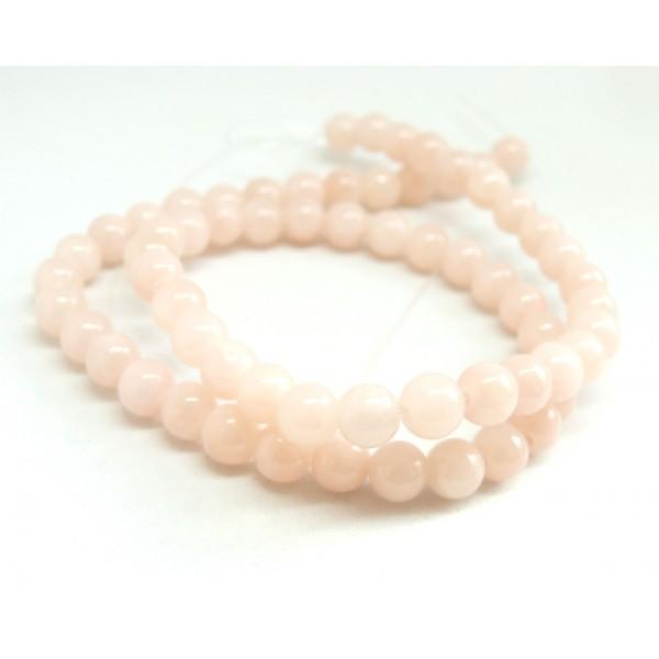 1 fil d'environ 95 perles rondes JADE MASHAN ROSE Laiteux 4mm H114D02 - Photo n°2