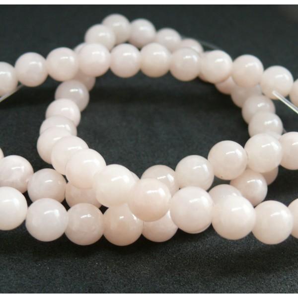 1 fil d'environ 95 perles rondes JADE MASHAN ROSE Laiteux 4mm H114D02 - Photo n°3