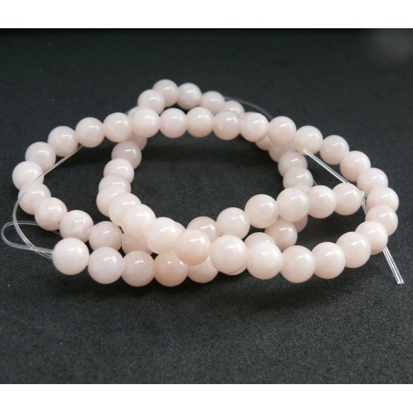 1 fil d'environ 95 perles rondes JADE MASHAN ROSE Laiteux 4mm H114D02 - Photo n°1