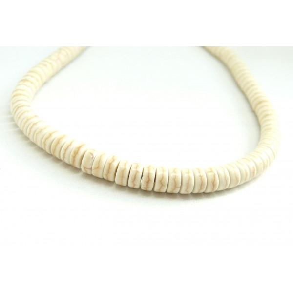 1 fil d'environ 135 Perles Rondelles Howlite 6 par 3 mm Crème coloris 11 - Photo n°1