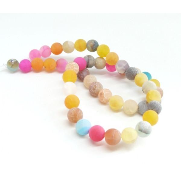G589 Lot 1 fil d' environ 46 perles rondes 8mm Agate craquelé effet givre multicolore coloris 01 - Photo n°2