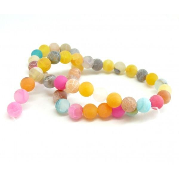 G589 Lot 1 fil d' environ 46 perles rondes 8mm Agate craquelé effet givre multicolore coloris 01 - Photo n°1