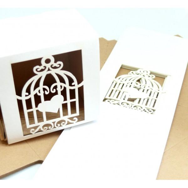 PAX de 10 Boites à monter Cage et Coeur Blanc pour mariage, Bapteme 180731181527 - Photo n°2