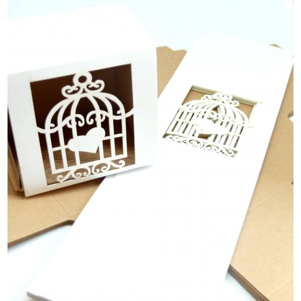PAX de 10 Boites à monter Cage et Coeur Blanc pour mariage, Bapteme 180731181527 - Photo n°1