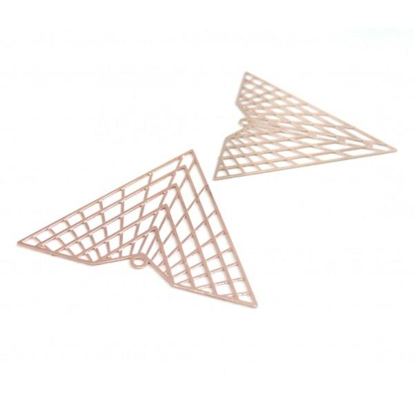 2 Estampes pendentif multiconnecteur filigrane TRIANGLE de 40mm Or Rose B3676 - Photo n°1