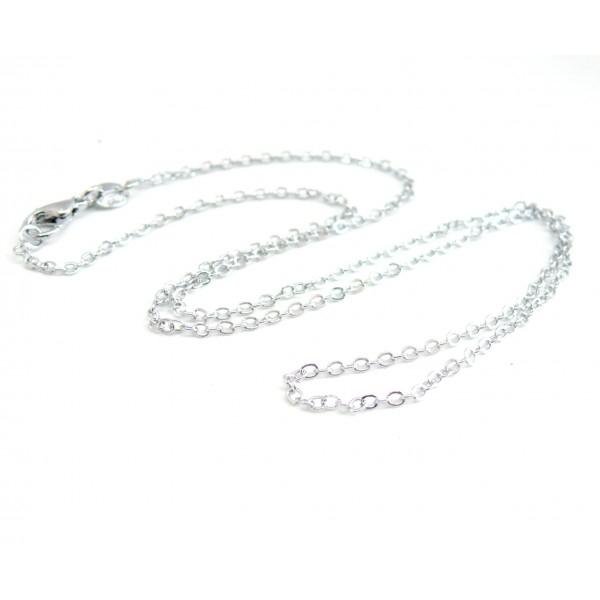 PAX 10 Colliers chaine 43 cm maille 2 par 1.5mm Laiton couleur Argent Platine 140920142400 - Photo n°1