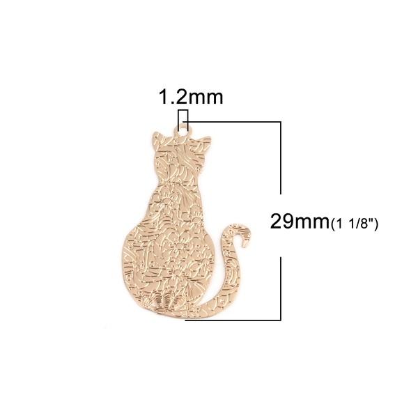 PS110216695 PAX 5 pendentifs, breloque 29mm Chat Travaillé Cuivre couleur Doré - Photo n°3