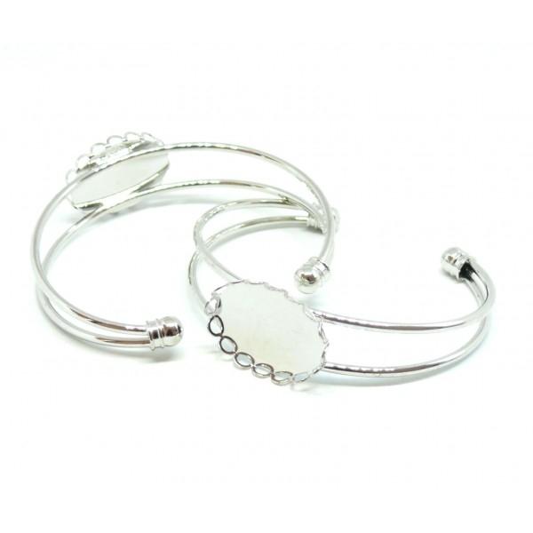 PAX 1 support bracelet Vague HORIZONTALE 18 par 25 mm Laiton couleur Argent Platine - Photo n°2