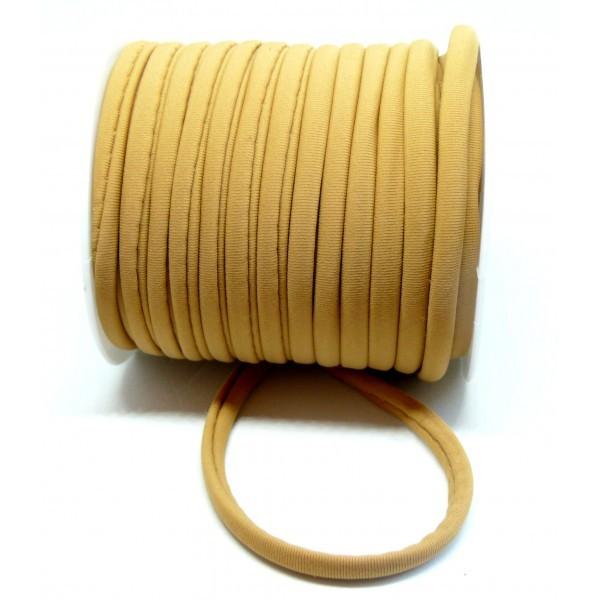 H11320 Lot de 2 mètres élastique 5 par 3 mm Beige Camel pour création collier, headband - Photo n°1