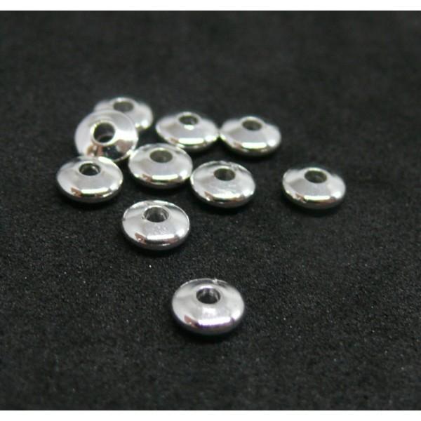 200403162139Bis PAX 20 perles intercalaires Rondelles 5 mm Laiton couleur Argent Vif - Photo n°2
