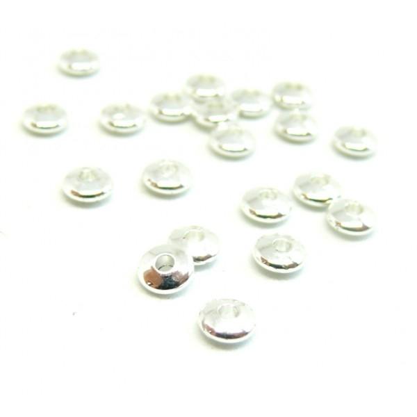 200403162139Bis PAX 20 perles intercalaires Rondelles 5 mm Laiton couleur Argent Vif - Photo n°1