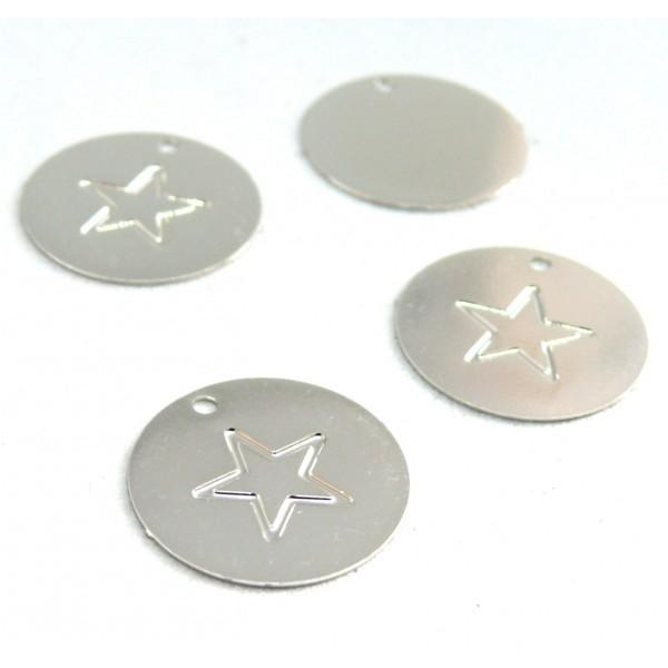 C10222 Lot de 4 Estampes Médaillon avec Etoile 15 mm cuivre couleur Argent Platine - Photo n°1