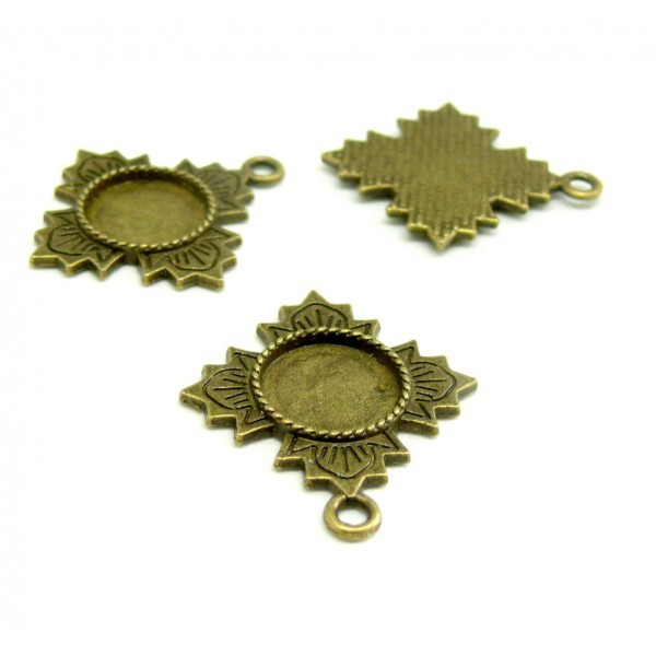 Ref 31 PAX 10 supports pendentifs ARTY 12 mm metal couleur Bronze - Photo n°1