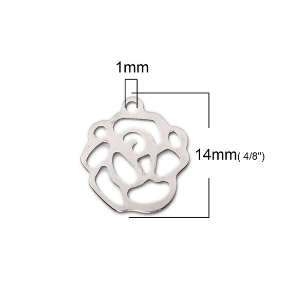 S11141097 PAX 10 Estampes CONNECTEUR Fleur , Rose 14 mm Argent Platine en Acier Inoxydable - Photo n°3