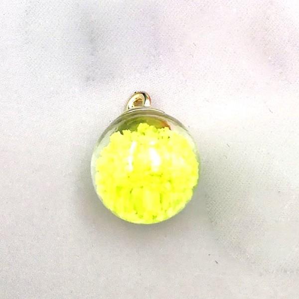 PAX 10 Pendentifs GLOBES BULLES EN VERRE s illumine la nuit Jaune 16mm socle Doré 200102114212 - Photo n°2