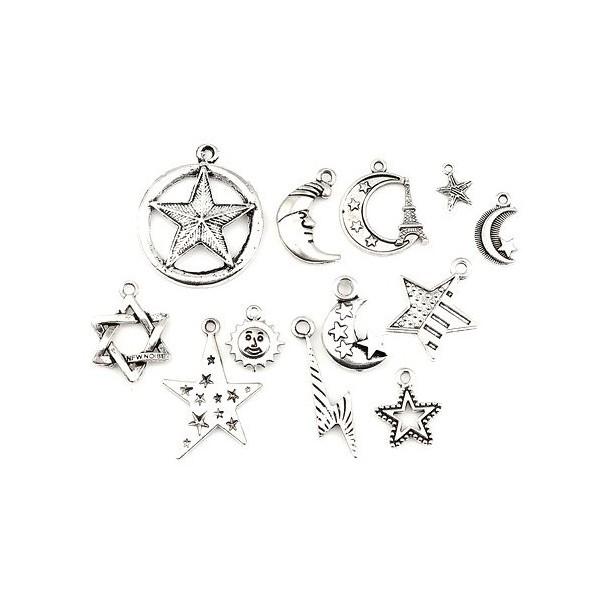 S11130602 PAX 12 pendentifs breloque Lune, soleil, étoile métal couleur Argent Antique - Photo n°2