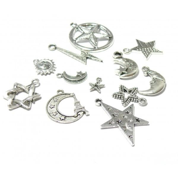 S11130602 PAX 12 pendentifs breloque Lune, soleil, étoile métal couleur Argent Antique - Photo n°1