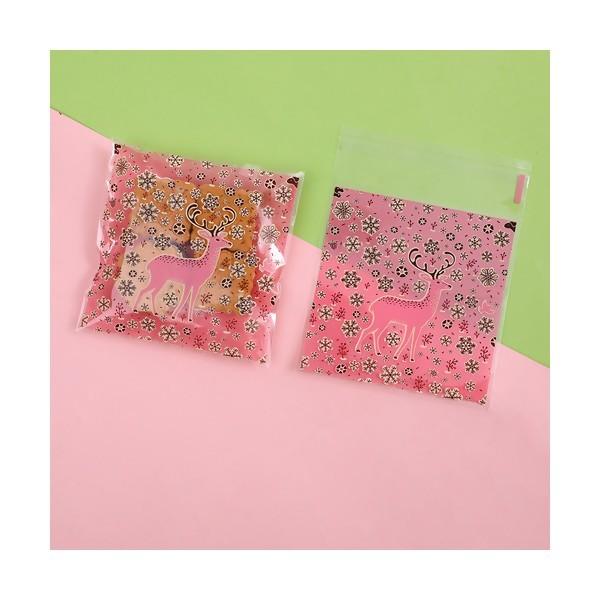S110259048 PAX 100 Sachets plastique Cerf, Rennes Emballage Cadeau - Photo n°1